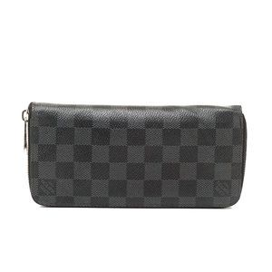 Auth Louis Vuitton Zippy Wallet Black #N0223V36